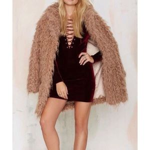 Nasty Gal Red Velvet Lace Up Bodycon Dress